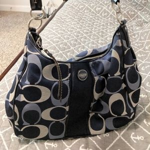 Coach Navy Blue Signature Stripe Hobo Bag